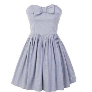 Jack Wills Strapless Blue White Stripe Dress 6